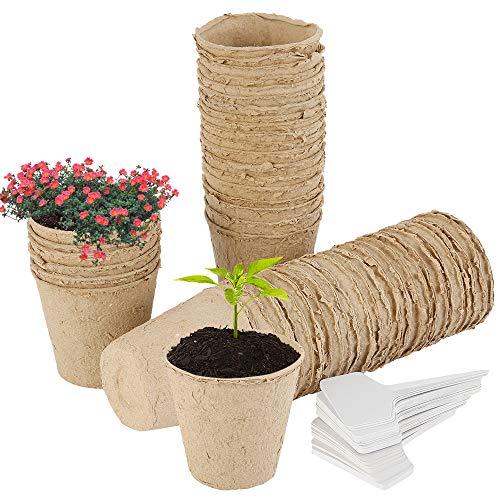 Iraza 50pcs Pots de Semis Biodegradable, Godets Semis Pot de Plantation en Fibre, Pot de Tourbe Godet Semis Bio avec 50pcs Petite Etiquettes enPlastique pour Plantes Commencer Saplings Fleurs