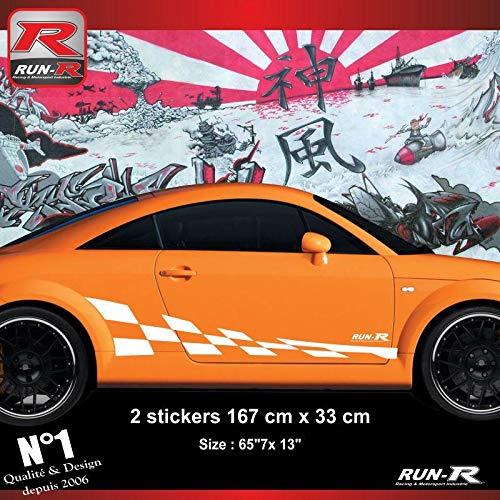 2 stickers bas de caisse 00CFB damier compatible avec Audi TT MK1 - Blanc