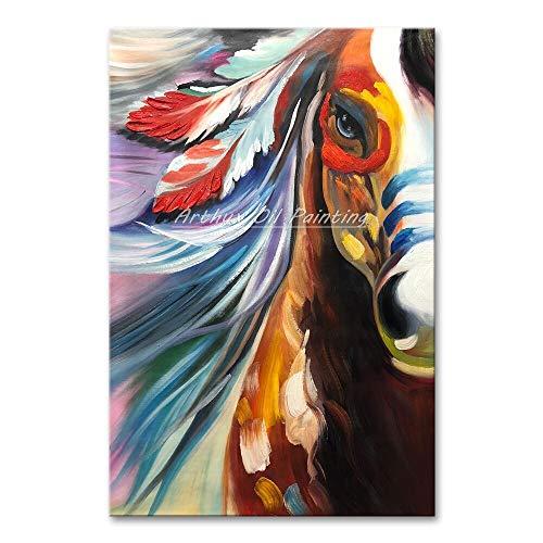 SUNFFFW Pintura del Arte Cuadros Abstractos del Caballo Lienzos Pintados A Mano Pinturas Al Óleo Carteles Abstractos Modernos para La Sala De Estar Decoración De La Pared