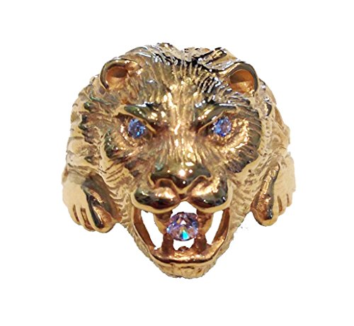Testa di leone - Anello in argento, doratura, pietre bianche (33)