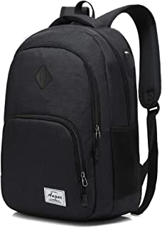 AUGUR Laptop College Backpack Lightweight Minimalism with USB Charging Port Business School Book Bag Travel Hiking Camping Outdoor Daypack Rucksack Fits 15.6-Inch Notebook (Black)