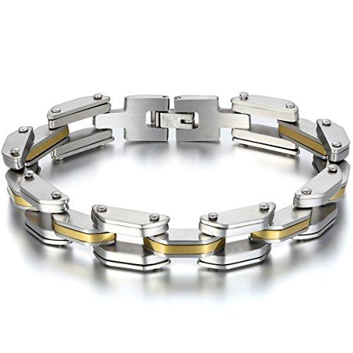 JewelryWe Schmuck Herren Armband, Biker Link Fahrradkette Armreif, Edelstahl, Gold Silber