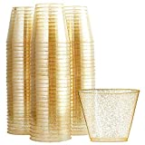 WDF 200pcs 9OZ Gold Cups,Disposable Gold Glitter Plastic Cups-Premium Wedding Cups-Party Cups