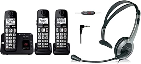 $91 » Panasonic DECT 6.0 Expandable Cordless Phone System with Answering Machine and Call Blocking - 3 Handsets (Black) & KX-TCA...