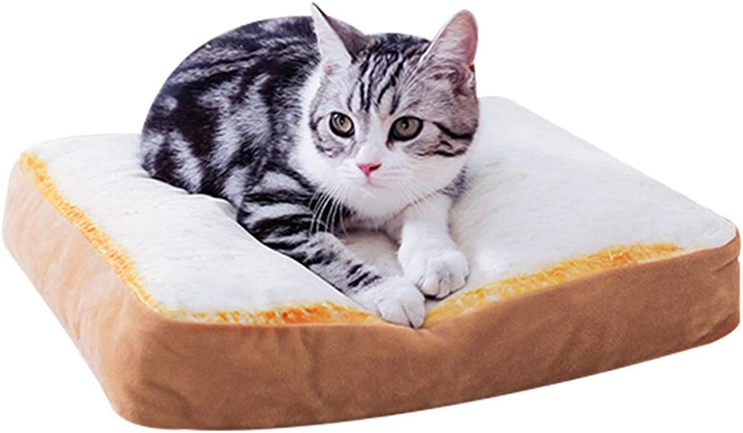Alppq Plush Fabrics Kennel Cat Mat Slice Toast Cushion Bread Washable Pet Bed Bolster Four Seasons Universal Square Shape Pet Bed Plush Dog Bed Easy to Clean Comfort Bed Cat Dog Bed Luxury Soft