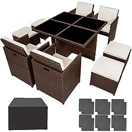 Salon de Jardin en Aluminium Résine Tressée Poly Rotin Table Set 4+1+4 + Housse de Protection + Set de Housses, Marron…