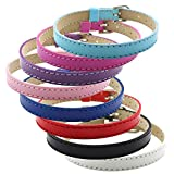 Ginooars Pack of 20pcs Mix Colors 8mmFaux Leather PU Leather Bracelet Straps Slide Wristbands/Bracelets for 8mm Slide Letters,Jewelry Making Charms