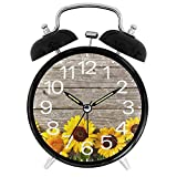 Sevenyee Sunflower Clock - Sunflower and Rustic Wood Slices Alarm Clock Loud - Bedroom Clock - Vintage Clock - 4' Alarm Clock Quartz Battery Operated - Contemporary Creative Alarm Clock Round