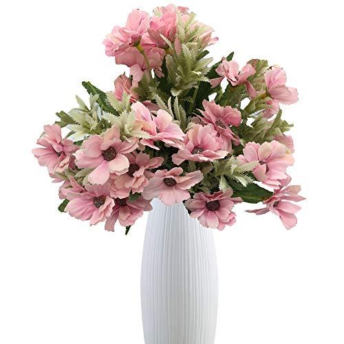 Live with Love 2 ramos de flores cosmos con 1 jarrón de cerámica bla