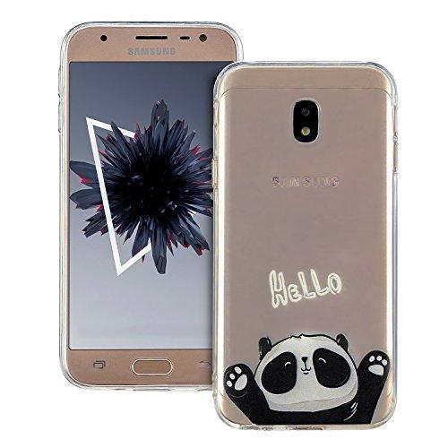 Anfire Funda para Samsung Galaxy J7 2017 Gel TPU Carcasa Silicona Suave Case Flexible Cover Protección Gota Anti Rasguños y Ultra Ligera Bumper Tapa Caja Protector Caso - Hello