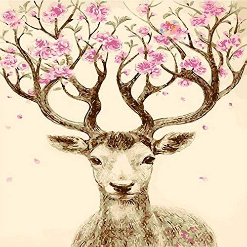 nobrand Lucky Deer DIY DIY Pbn Öl Digitale Malerei Von Zahlen Kits Abstrakte Acryl Moderne Kunst Malen Von Zahlen Erwachsenen Wohnkultur