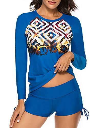 Zando Womens Two Piece Swimsuits Long Sleeve Rashguard Shirt Athletic Tankini Set Bathing Suit Blue 4-6