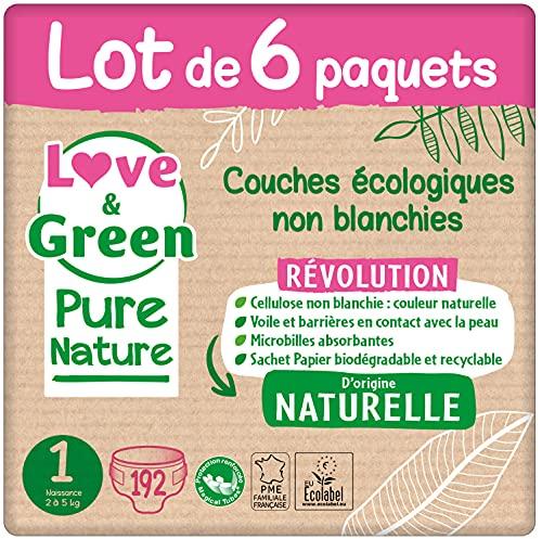 Love & Green Pure Nature Pack de 192 Couches écologiques non blanchies T1 x 32 (2-5 kg)