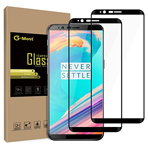 G-Most OnePlus 5T Screen Protector [2-PACK], 1+5T [Full Adhesive] [Full Screen Coverage] HD Tempered Glass Screen Cover Shield for OP 5T - Black