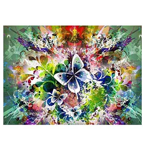 KBIASD 5D DIY diamante pintura mariposa diamante mosaico diamantes de imitación diamante pintura cuadrado completo bordado de diamantes flores-30x40 cm sin marco