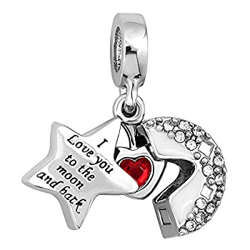 CharmSStory Heart I Love You To The Moon and Back Charm Jewelry Photo Beads For Bracelets  White
