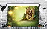 HDおとぎ話のテーマの背景城の花の木ランプ写真の背景ポートレート写真撮影小道具子供のためのパーティー室内装飾壁紙10x7ftFSLF028