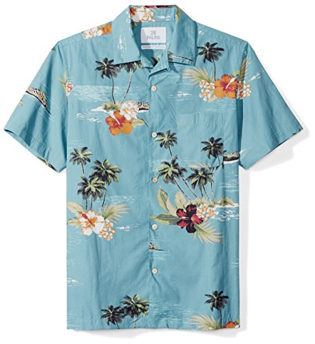 Amazon Brand - 28 Palms Men's Standard-Fit Tropical Hawaiian Shirt, Dark Aqua Scenic, Large