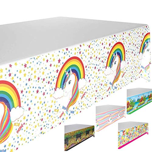 DIWULI, Mantel de unicornio arcoíris, multicolor, mantel de mesa, mantel de mesa, mantel de plástico para decoración de cumpleaños, cumpleaños infantiles, fiestas temáticas, decoración