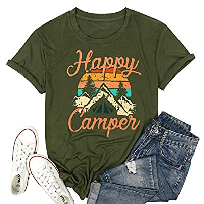 Happy Camper Tee Shirt Funny Cute Camper Tee Shirts for Women Camper Tee Shirts Graphic Letter Print Tee Shirts