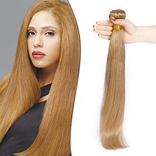 SEGO Extension Tessitura Capelli Veri Matassa Virgin Human Hair Biondi Lisci 100g Una Ciocca da Cucire Umani Brasiliani 60cm #27 Biondo Scuro