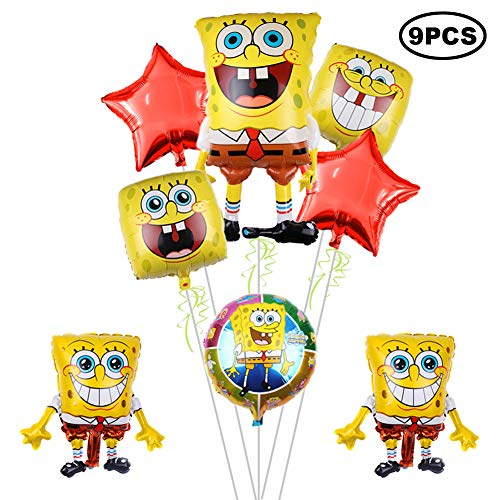 9Pcs Spongebob squarepants Balloons Birthday Party Supplies for Kids Baby Shower Party Decorations