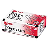 Acco 72380 Smooth Standard Paper Clips, Size 1, 100/Box, Silver, 10 Boxes/PK