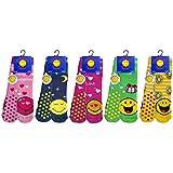 Smiley 5 pares de calcetines antideslizantes para bebé, en felpa de algodón (Niña multicolor, 30-35)