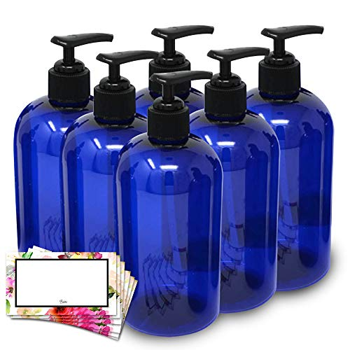 Baire Bottles 16 Ounce Plastic Bottles with Waterproof Labels - 6 Pack (Blue with Black Pump, Floral Labels)