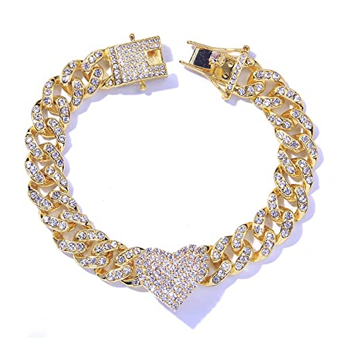 StoneFans Heart Anklet Bracelet for Women Men Boy Girls, Shiny Rhinestone Iced Out Cuban Link Ankle Foot Jewelry Hip Hop Party Gifts