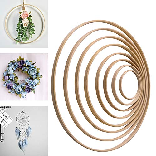 8PCS Wooden Bamboo Floral Hoop Set Wreath Macrame Creations Hoop Ring for DIY Crafts Dream Catchers Floral Macrame Hoop for Wedding Decor Wall Hanging Craft