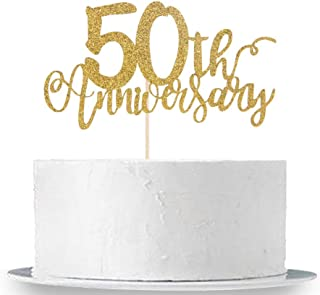 50th Anniversary Cake Topper, Gold Glitter 50th Birthday Cake Topper,50 Years Blessed Party Decorations