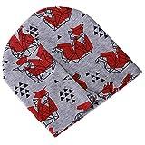 AOXQ Cap Baby Mütze Cartoon Tier Doppelt Bedruckte Baumwolle Gestrickte Kindermütze Baby Mütze Junge Mädchen Spring-No8_Gray_Fox