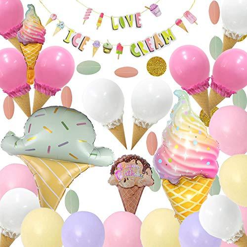Ice Cream Party Decorations - 62Pcs,Ice Cream Party Supplies with Ice Cream Banner,DIY Ice Cream Balloons,Ice Cream Mylar Balloons,Pastel Balloons for Summer Girls Kids Birthday Party Baby Show Decora