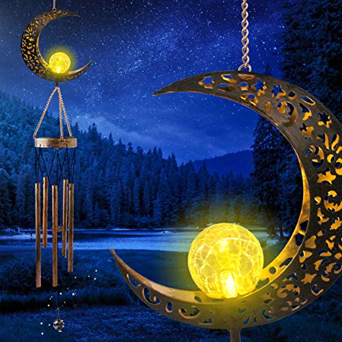 GREKEE Moon Crackle Glass Ball Solar Wind Chimes Outdoor Romantic Moon Decor Windchime Sympathy Wind Chimes Mobile Solar Garden Lights Unique Memorial Gifts for Mom for Women Mother's Day Decor