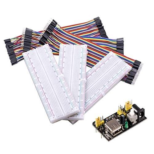 Queta Kit Breadboard 8888 Cavetti Jumper e Modulo di Alimentazione, 3 x MB-102 Breadboard con 830 Punti + 120pcs Cavetti Jumper Filo Dupont + 1 x Adattatore 3,3V / 5V, per Arduino Raspberry Pi