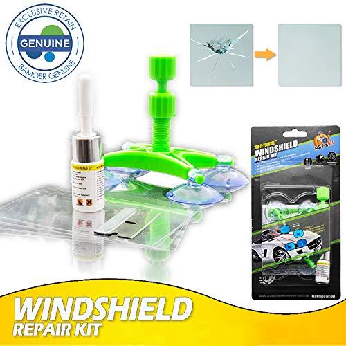 Bamoer [Upgrade] Auto Windschutzscheiben Reparaturset Werkzeug, Windshield Repair Kit für PKW Chip und Crack, Bullseye, Spinnennetz, sternförmig, Kerben, Halbmond-Halbmonde