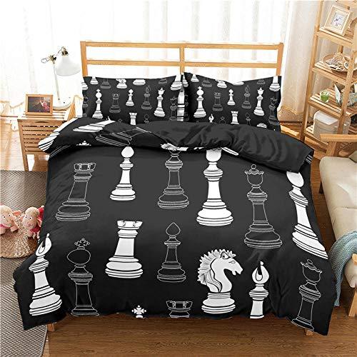 QDoodePoyer Bettwäsche-Set 260x220cm 80x80cm Schwarz Weiß Schachfiguren MusterBettwäsche für Teenager & Jugend · 2 teilig · Wendemotiv · 2 Kissenbezug 80x80 + 1 Bettbezug 260x220cm