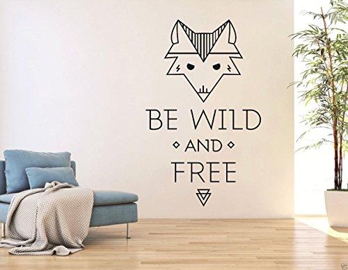 tjapalo® S-pkm34 Wandtattoo englisch spruch be wild and free Wohnzimmer Dekoration Flur Wandaufkleber Fuchs sei wild und frei (Höhe 120 x Breite 58 cm)