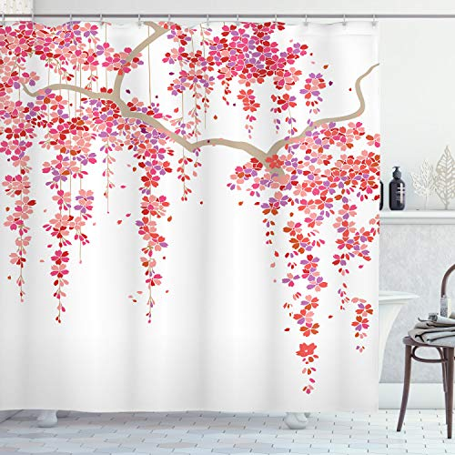 Ambesonne Flower Shower Curtain, Cherry Blossom Trees