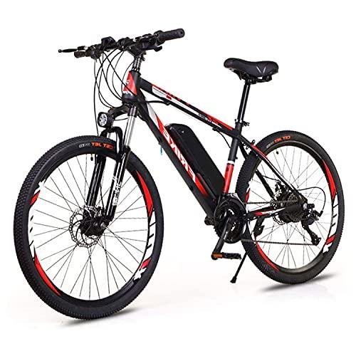 Bici Elettriche Mountain Bike 26' 250W Bicicletta elettrica con Batteria al Litio Rimovibile da 36 V 8 Ah, Cambio a 21 velocità, 35km/h,Ricarica Chilometraggio Fino a 35-50 km (Color:rosso+nero)