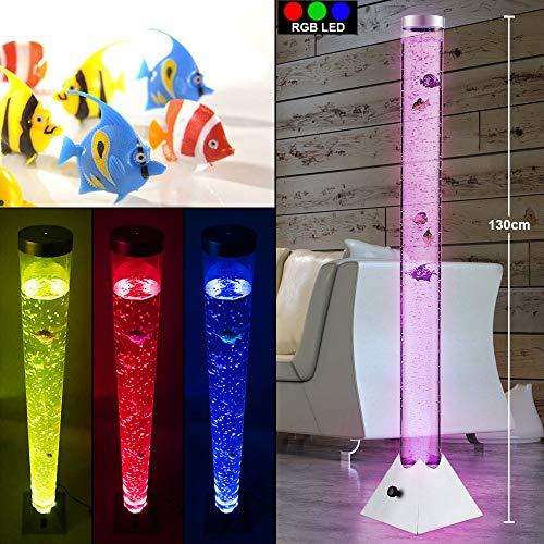 LED Wassersäule Steh Leuchte 10 Deko-Fische Wohnraum Beleuchtung Stand Lampe