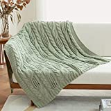 Amélie Home Cable Knit Decorative Sage Green Throw Blankets for Couch, Soft Cozy and Lightweight, 50'' x 60''