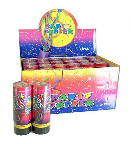 Spring Loaded Confetti Party Poppers 6 inch - 24 pc
