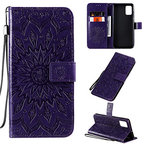 Leather Wallet Case for Galaxy A71 Wallet Case With Card Holder Side Pocket Kickstand, Magnetic Closure Case Cover for Samsung Galaxy A71 - XIKAT020287 Purple
