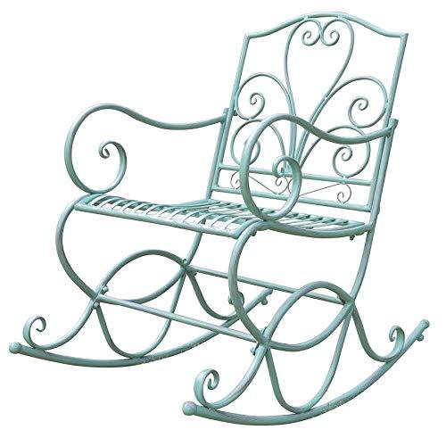 Dynamic24 Metalen schommelstoel stoel schommelstoel shabby antieke look groen