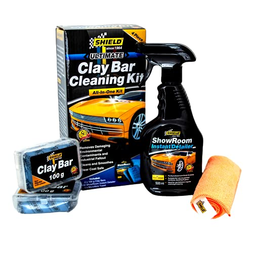 Shield Ultimate Clay Bar All-in-One Car Cleaning Kit, Auto Detailing, Car Cleansing Bar for Cleaning Cars, Includes 2 Clay Bars (100g), Showroom Instant Detailer (500ml), and Microfibre Towel