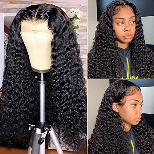 Reaktack Deep Wave Lace Front Wigs Human Hair 150% Density 13X4 Brazilian Virgin Human Hair Deep Curly Wave Lace Frontal Wigs for Black Women Pre Plucked with Baby Hair (18 Inch)