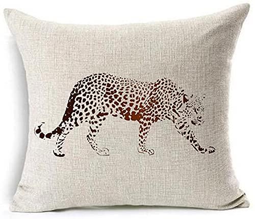 Bernice Winifred Acuarela Bosque Reptil Elefante Caballo Leopardo algodón Lino Tiro Fundas de Almohada Funda de cojín sofá Decorativo Cuadrado (6) -1(18×18)