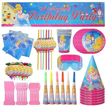 Vajilla de Fiesta,CBOSNF 71 PCS Suministros de Fiesta de Princesa, Vajilla Fiesta de Cumpleaños Para Niños,6 Platos,6 Tazas,10 Servilletas,Pancarta etc
